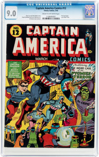 Captain America Comics #12 (Timely, 1942) CGC VF/NM 9.0 Cream to off-white pages