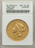 1850 $20 -- Cleaned -- ANACS. XF Details, Net VF30. CDN: $2,100 Whsle. Bid for problem-free NGC/PCGS VF30. Mintage 1,170...