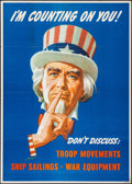 """Movie Posters:War, World War II Propaganda (U.S. Government Printing Office, 1943). Folded, Very Fine-. Poster (28.5"""" X 40"""") """"I'm Counting on Y..."""