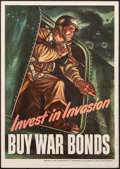 "Movie Posters:War, World War II Propaganda (Abbott Laboratories, 1943). Fine/Very Fine. Poster (11"" X 15.5"") ""Invest in Invasion,"" Harold Lehma..."