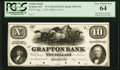 Obsoletes By State:Massachusetts, Grafton, MA - Grafton Bank $10 Aug. 1, 1854 MA-630 UNL Proof PCGSVery Choice 64, hole punch cancelled.