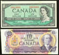 World Currency, Cut Off Size Error Pair Canada Bank of Canada $1; $10 1954; 1971 BC-37b-i; BC-49a Two Examples About Uncirculated.. ... (Total: 2 items)