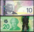 World Currency, Fancy Serial Number Pair Canada Bank of Canada $10; $20 2005; 2012 BC-68a; BC-71a-i Two Examples Choice Crisp Uncirculated... (Total: 2 items)