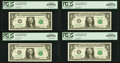 Fancy Serial Numbers 10091 Through 10098 Fr. 1933-F $1 2006 Federal Reserve Notes. PCGS Gem New 65PPQ-66PPQ. ... (Total:...