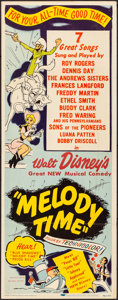 """Movie Posters:Animation, Melody Time (RKO, 1948). Folded, Fine/Very Fine. Insert (14"""" X 36""""). Animation.. ..."""