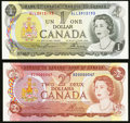World Currency, Fancy and Low Serial Number Pair Canada Bank of Canada $1; $2 1973; 1974 BC-46a-i; BC-47a About Uncirculated; Crisp Uncirc... (Total: 2 items)