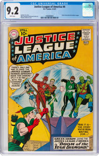 Justice League of America #4 (DC, 1961) CGC NM- 9.2 White pages