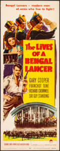 """Movie Posters:Adventure, The Lives of a Bengal Lancer (Paramount, R-1950). Rolled, Very Fine-. Insert (14"""" X 36""""). Adventure.. ..."""