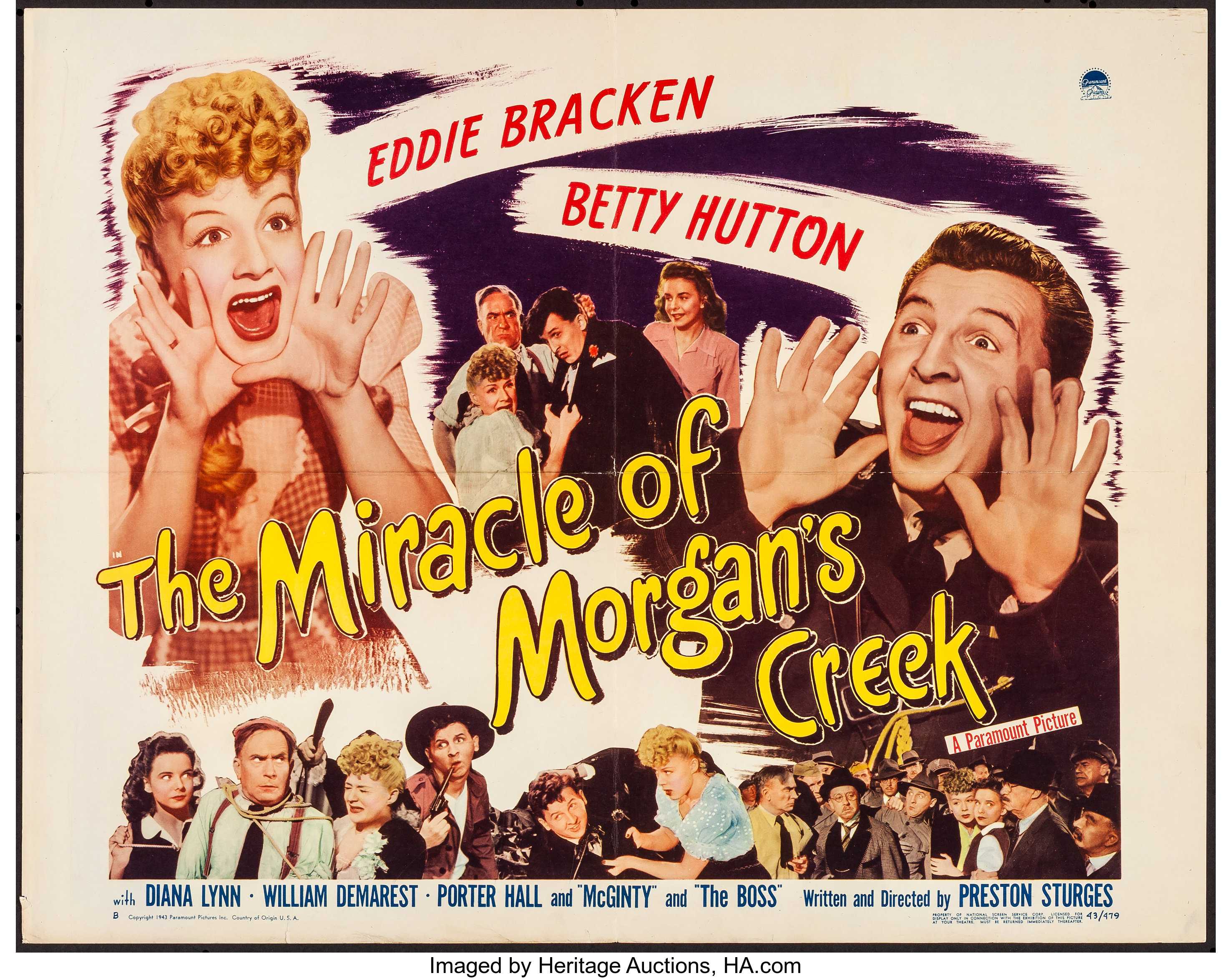 The Miracle of Morgan's Creek (Paramount, 1944). Folded, Very ...
