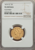 1874-CC $5 -- Cleaned -- NGC Details. VG. NGC Census: (5/113). PCGS Population: (8/148). Mintage 21,198....(PCGS# 8334)