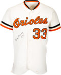 Baseball Collectibles:Uniforms, 1981 Eddie Murray Game Worn & Signed Baltimore Orioles Jersey....