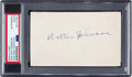 Baseball Collectibles:Others, 1930's Walter Johnson Signed Index Card, PSA/DNA Authentic. ...