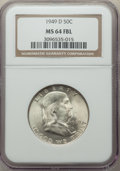 1949-D 50C MS64 Full Bell Lines NGC. NGC Census: (1087/233). PCGS Population: (3377/944). CDN: $85 Whsle. Bid for proble...