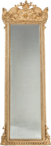Furniture , A Rococo Revival Giltwood Trumeau Mirror with Marble and Giltwood Stand, 20th century. 100 x 33-1/2 x 12 inches (254 x 85.1 ...