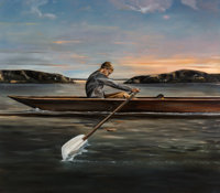 Eric Zener (American, b. 1966) Untitled (The Rower) Oil on canvas 64 x 73 inches (162.6 x 185.4 c