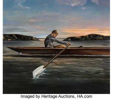 Eric Zener (American, b. 1966)Untitled (The Rower)Oil on canvas64 x 73 inches (162.6 x 185.4 cm)Signed lower rig...
