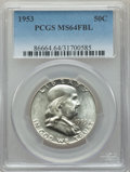 Franklin Half Dollars, 1953 50C MS64 Full Bell Lines PCGS. PCGS Population: (1353/433). NGC Census: (204/71). CDN: $120 Whsle. Bid for problem-fre...