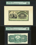 Bolivia Banco Industrial de La Paz 20 Bolivianos 1900 Pick S154fp; S154bp Front And Back Proofs PMG Gem Uncirculated 65...