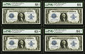 Fr. 237 $1 1923 Silver Certificates Cut Sheet of Four PMG Graded