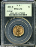 Indian Cents: , 1909-S 1C MS65 Red PCGS. ...