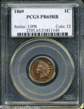 """Proof Indian Cents: , 1869 1C PR 65 Red and Brown PCGS. The current Coin Dealer Newsletter (Greysheet) wholesale """"bid"""" price is $705.00...."""