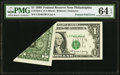 Error Notes:Foldovers, Fr. 1924-C $1 1999 Federal Reserve Note. PMG Choice Uncirculated 64 EPQ.. ...