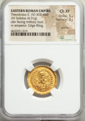 Ancients:Roman Imperial, Theodosius II (AD 408-450). AV solidus (20mm, 4.31 gm, 6h)...