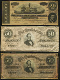 Confederate Notes:Group Lots, T66 $50 PF-1, PF-13; Cr. 495, Cr. 502 Fine;. T67 $20 1864 PF-7 Cr. 508 Very Fine.. ... (Total: 3 notes)