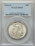 Walking Liberty Half Dollars: , 1936-D 50C MS63 PCGS. PCGS Population: (410/2921). NGC Census: (199/1342). CDN: $85 Whsle. Bid for problem-free NGC/PCGS MS...