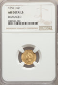 Gold Dollars, 1855 G$1 Type Two -- Damage -- NGC Details. AU. NGC Census: (222/4974). PCGS Population: (424/3001). AU50. Mintage 758,269....