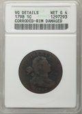 Large Cents, 1798 1C Second Hair Style -- Corroded, Rim Damaged -- ANACS. VG Details, Net Good 4. Mintage 1,841,745....