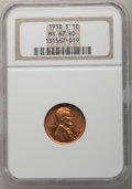 Lincoln Cents: , 1938-S 1C MS67 Red NGC. NGC Census: (782/0). PCGS Population: (345/0). CDN: $125 Whsle. Bid for problem-free NGC/PCGS MS67....