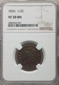 1826 1/2 C VF30 NGC. NGC Census: (20/271). PCGS Population: (25/430). Mintage 234,000