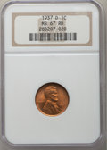 Lincoln Cents: , 1937-D 1C MS67 Red NGC. NGC Census: (1039/1). PCGS Population: (419/3). CDN: $120 Whsle. Bid for problem-free NGC/PCGS MS67...