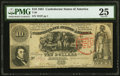 Confederate Notes:1861 Issues, T30 $10 1861 PF-6 Cr. 242 PMG Very Fine 25.. ...