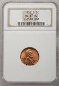 Lincoln Cents: , 1952-S 1C MS67 Red NGC. NGC Census: (439/0). PCGS Population: (195/0). CDN: $115 Whsle. Bid for problem-free NGC/PCGS MS67....