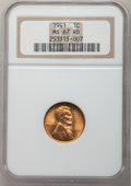 Lincoln Cents: , 1941 1C MS67 Red NGC. NGC Census: (842/0). PCGS Population: (286/1). CDN: $90 Whsle. Bid for problem-free NGC/PCGS MS67. Mi...