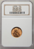 Lincoln Cents: , 1938 1C MS67 Red NGC. NGC Census: (669/0). PCGS Population: (335/1). CDN: $110 Whsle. Bid for problem-free NGC/PCGS MS67. M...