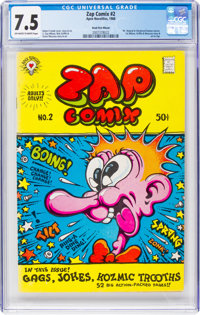 Zap Comix #2 Head First Miscut (Apex Novelties, 1968) CGC VF- 7.5 Off-white to white pages