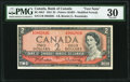 Canadian Currency, Canada Bank of Canada $2 1954 (ND 1961-71) BC-38bT...