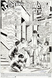 """Curt Swan and Dennis Janke Superman #48 Complete 22-Page Story """"The Sinbad Contract, Part 1"""" Original Art (DC..."""