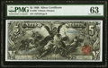 Large Size:Silver Certificates, Fr. 268 $5 1896 Silver Certificate PMG Choice Uncirculated 63.. ...
