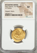 Ancients:Byzantine, Ancients: Maurice Tiberius (AD 582-602). AV solidus (23mm, 6h). NGC XF, wavy flan, clipped, marks....