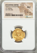 Ancients:Byzantine, Ancients: Tiberius II Constantine (AD 578-582). AV solidus (21mm, 7h). NGC AU, flan flaw....