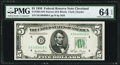 Small Size:Federal Reserve Notes, Fr. 1961-D $5 1950 Narrow Federal Reserve Note. PMG Choice Uncirculated 64 EPQ.. ...