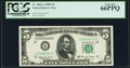 Small Size:Federal Reserve Notes, Fr. 1966-L $5 1950E Federal Reserve Note. PCGS Gem New 66PPQ.. ...