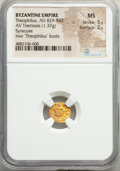 Ancients:Byzantine, Ancients: Theophilus (AD 829-842). AV tremissis (10mm, 1.37 gm, 5h). NGC MS 5/5 - 2/5. ...