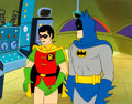 Animation Art:Production Cel, The New Adventures of Batman Batman and Robin Production Cel Setup with Master Painted Background (Filmation, 1977)....