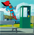 Animation Art:Production Cel, Superman Production Cel and Master Background (Ruby-Spears,1988)....