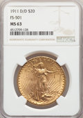 Saint-Gaudens Double Eagles, 1911-D/D $20 FS-501 MS63 NGC....